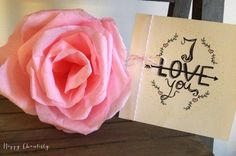 Carte I love You  Carte Je t'aime  Carte par HappyChantilly sur Etsy, €3.20