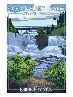 day trip to Gooseberry Falls State Park - Minnesota. Gooseberry Falls, Vintage Travel Posters, Poster Vintage, Vintage Signs, Vintage Art, Lake Superior, Travel Usa, State Parks, Places To See