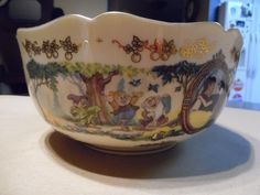 Disney Lenox SNOW WHITE SEVEN DWARFS Cottage 24K Gold China LE Anniversary Bowl #Lenox
