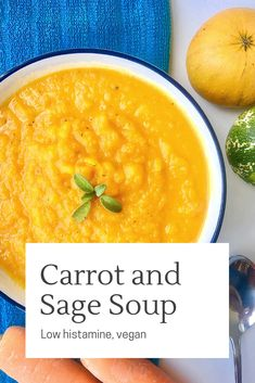 Four delicious and simple to make vegetarian soups, that are also low histamine. Carrot and sage, celeriac and apple, vegan corn chowder and wild rice vegetable soup. Suitable for a vegetarian diet, and an easy lunch or dinner recipe. Healthy Soup Recipes, Veggie Recipes, Lunch Recipes, Breakfast Recipes, Vegetarian Recipes, Vegan Vegetarian, Weekly Recipes, Veggie Meals, Vegan Corn Chowder