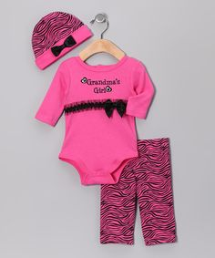 Pink 'Grandma's Girl' Rumba Ruffle Pants Set by Baby Essentials Baby Sister, My Baby Girl, Baby Girl Fashion, Kids Fashion, Baby Chloe, Ruffle Pants, Baby On The Way, Baby Kids Clothes, Baby Essentials