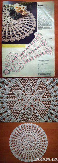 Pineapple napkin a hook from Doni Crochet Patterns Filet, Crochet Stitches Chart, Crochet Doily Diagram, Thread Crochet, Filet Crochet, Crochet Motif, Lace Doilies, Crochet Doilies, Crochet Home