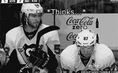 Boredom on the bench - What if I tap your helmet? - How will you react? animated gif of Kris Letang and Sidney Crosby
