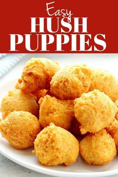 These easy Hush Puppies are a popular Southern side dish of cornmeal batter deep-fried until golden brown and crispy. Very easy to make and fun to eat! Side Dish Recipes, Fish Recipes, Seafood Recipes, Appetizer Recipes, Appetizers, Cheap Recipes, Salad Recipes, Recipies, Cooking Recipes