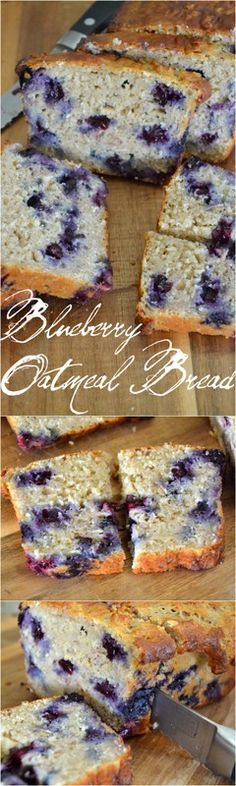 Blueberry Oatmeal Bread, made healthy with oat flour and Greek yogurt