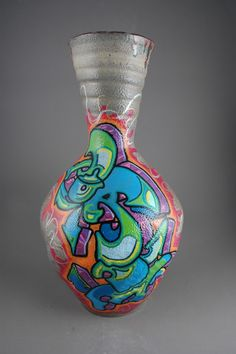 EVAN LOPEZ - wheel thrown Vase soda fired graffiti done with paint!!
