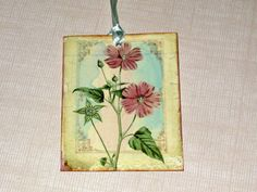 Botanical Gift Tags Altered with Pearls ECS ATC