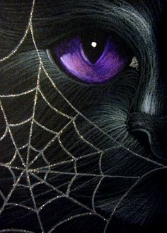 """Black Cat with Spider Web"" par Cyra R. Black Cat Art, Black Cats, Spider Art, Purple Cat, Cat Whiskers, Cat Sitting, Eye Art, Cat Drawing, Chalk Art"