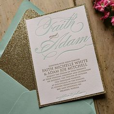 Mint and Gold Wedding Invitation, Gold Glitter, Letterpress Wedding Invitations - incorporate mint w/ envelope color or sash running around the bundle Gold Glitter Wedding, Glitter Wedding Invitations, Letterpress Wedding Invitations, Gold Wedding Invitations, Wedding Stationary, Wedding Paper, Our Wedding, Dream Wedding, Quince Invitations