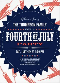 Fireworks red white and blue #4th_of_July_invitations. Celebrate!