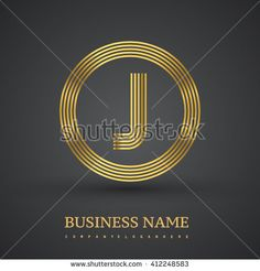 Elegant gold letter symbol. Letter J logo design. Vector logo design template elements  for company identity. - stock vector