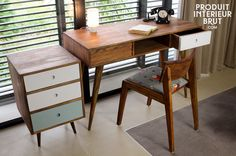 Bureau Stockholm - meuble scandinave - Un design typique des années 50, 100% acacia massif
