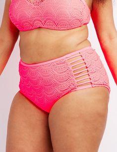 ccee826c48 Charlotte Russe Plus Size Caged Crochet High-Waisted Bikini Bottoms High  Waisted Bikini Bottoms
