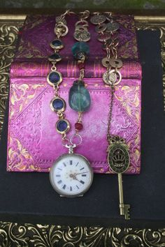 Antique Pocket watch and gemstone collage necklace, Gold vermeil upcycled jewelry, Victorian Steampunk Assemblage reinvented silver watch,, Gold Pocket Watch, Pocket Watch Necklace, Pocket Watch Antique, Victorian Steampunk, Gold Hands, Vintage Rhinestone, Beautiful Necklaces, Have Time, Antique Silver