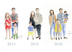 Custom watercolor family portrait - over the years.