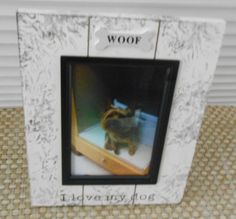 WOOF I Love My Dog plank frame with hand painted embellishments by Devora using tactile adapted mittens. Dog Frames, I Love Dogs, Make It Yourself, Unique Jewelry, Handmade Gifts, Vintage, Etsy, Kid Craft Gifts, Craft Gifts