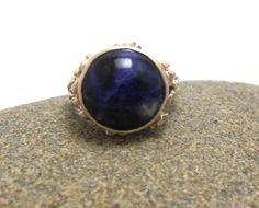 Agate Genuine Dyed Blue Gemstone Sterling Silver Ring by jewelrybymatt on Etsy