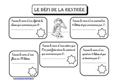 Le défi de la rentrée. Ap French, Core French, First Day Of School, School Fun, Back To School, Middle School Activities, Classroom Activities, French Teacher, Teaching French