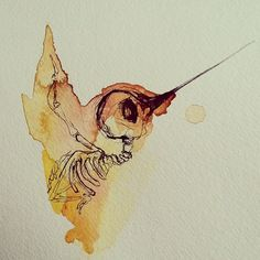 Hummingbird Skeletons...i would want a bat skeleton with the watercolor silhouette