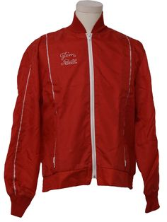 1970's Jacket (Calderon): 70s -Calderon- Mens red and white nylon windbreaker style racing jacket. Narrow striped details down the front and on the sleeves, Jim Bell stitched on the right chest, lower zip pockets, side elastic on the waistband, knit cuffs and stand up collar and a zip front.