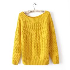 HOT Sell Autumn Winter 2016 Fashion Twisted O-Neck women warm sweater Ladies casual top yellow Pullover 10colors women clothes