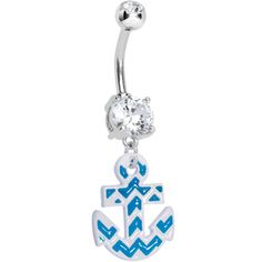 Clear Gem Blue and White Chevron Anchor Dangle Belly Ring | Body Candy Body Jewelry #bodycandy