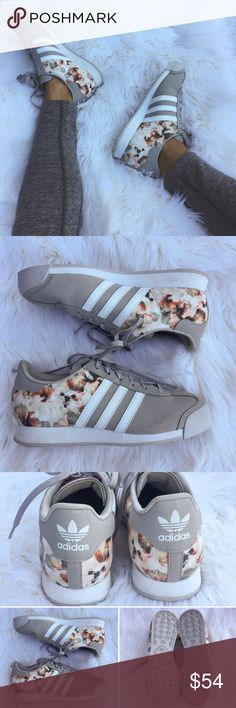 •Gray & Floral Samoa Adidas• I'm obsessed with these Adidas.   •size: 6 (but fits more like a 6.5) •color/print: gray and floral print  •worn once, great condition  •minor wear, see photo 4  •No trades(comments will politely be ignored). •15% off 2+ items  Adidas Shoes Sneakers
