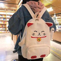 Kawaii Clothes, Kawaii Bags, Kawaii Stuff, Kawaii Things, Kawaii Outfit, Cat Backpack, Backpack For Teens, Guess Backpack, Backpack Straps