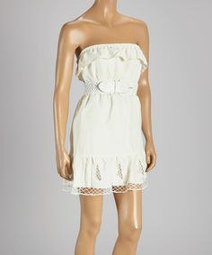 Another great find on #zulily! Off-White Belted Linen Strapless Dress by Hadari #zulilyfinds