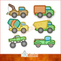 Truck Applique Design SET. Machine embroidery. Monster truck applique. Dump truck applique. Tow truck applique. Cement truck applique. by JLdizains on Etsy
