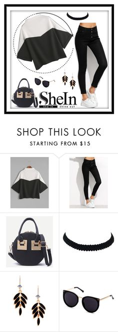 """""""Shein Color Block Mock Neck Split Side Cuffed T-Shirt"""" by freida-adams ❤ liked on Polyvore featuring blackandwhite, Sheinside, colorblock and Tshirt"""