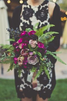 Moody bouquet with bright plum and purple flowers of amnesia roses and ranunculus - California wedding inspiration - #bridesmaidsbouquets