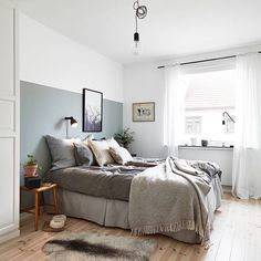 """I like the half-painted wall. Pic source stadshem.se #inredningsinspiration #inredning #sovrum #wallpaint #sovrum #bedroom #stadshem #grey"""