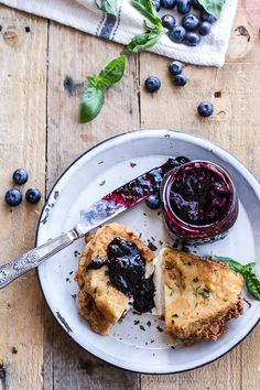 Mozzarella in Carrozza (Fried Mozzarella Sandwich) w-Blueberry Balsamic Jam | halfbakedharvest.com