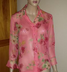 Notations sheer coral bold floral print button front blouse size S #Notations #ButtonDownShirt