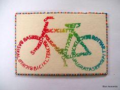 Bicycle Rainbow Calligram Art Card Multicolor by BlueJacaranda