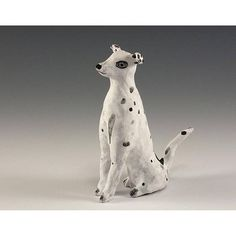 Sculpted Ceramic Black Spotted White Dog by Jenny Mendes - Clause