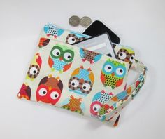 Large Colourful Retro Owls Fabric Party Purse - Free P&P £8.50