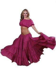Belly Dance Tribal Cotton 25 Yard Skirt | Fiery Frills, Fuschia