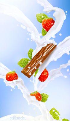 http://www.stilknecht.de/milchprojekt-bildmontage  Ein schönes Projekt, in welchem wir Schokoriegel und Erdbeeren mit Milch bewarfen.