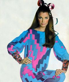 Gloria Friedrich in brightly colored shift with spangled cuffs by Oscar De La Renta, photo by Penn, Vogue US Sept. 1967 Fashion, 60s And 70s Fashion, Fashion Mag, Fashion Photo, Retro Fashion, Fashion Models, Vintage Fashion, Vintage Vogue, Teen Fashion