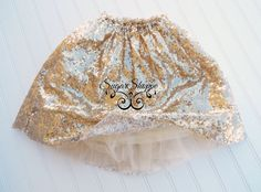 Gold Sequin Tutu Skirt Smash Session Outfit by sugarshoppe on Etsy