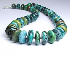 Natural Turquoise & Sterling Silver Necklace  by TheSilverBear, $175.00