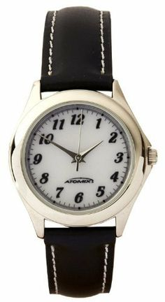 Silver Bezel with Black Band Ladies' Solar Watch Atomix. $39.99. Leather Band. Solar Powered