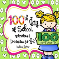 Day of School Activities and Printables. by Erica Bohrer First Grade Teachers, First Grade Classroom, First Grade Math, Back To School Night, 100 Days Of School, First Grade Activities, Math Activities, Classroom Freebies, Classroom Decor