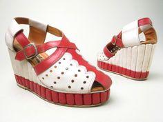 Platform wedge sandals, leather, G Casell designer, Italian, ca. 1938