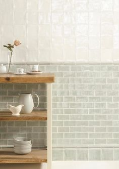 If you want to incorporate metro tiles into a traditional kitchen consider opting for more muted tones and subtle grout work. Deep creams and mint green tones are lovely options and a pearlescent finish like this will reflect light too. Küchen Design, Tile Design, Interior Design, Design Ideas, Classic Kitchen, Green Kitchen, Dad's Kitchen, Rooster Kitchen, Kitchen Ideas