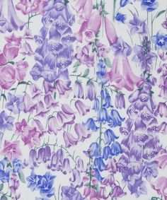 LIBERTY ART FABRICS BIRKBECK B TANA LAWN COTTON £22.50   PER METRE Disney's Garden of Live Flowers has inspired this bell flower Liberty fabric. Painted onto a canvas using oil paints, campanulas, lilies, foxgloves and bluebells all sit together, as they do in the garden, creating a bright mid-scale floral.