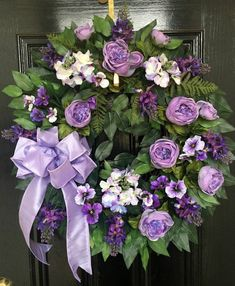 Best 12 XLG Year Round Wreath in Lavender with Roses, Lilacs, Hydrangeas, Pansies and Silk Bow Wreath Crafts, Diy Wreath, Door Wreaths, Grapevine Wreath, Wreath Ideas, Wreath Making, Purple Wreath, Lavender Wreath, Floral Wreath