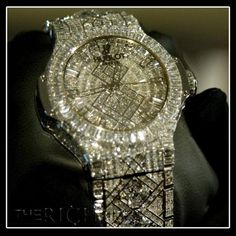 Hublots Watch- Worlds most expensive watch. Crammed as many diamonds as possible in this watch. Worth five million.